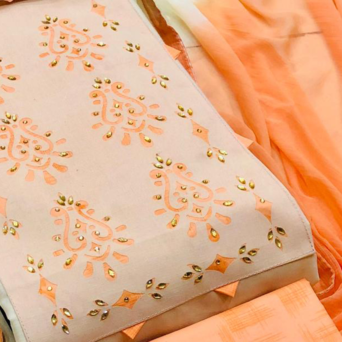 Excellent Cream - Peach Colored Casual Wear Printed Cotton Dress Material