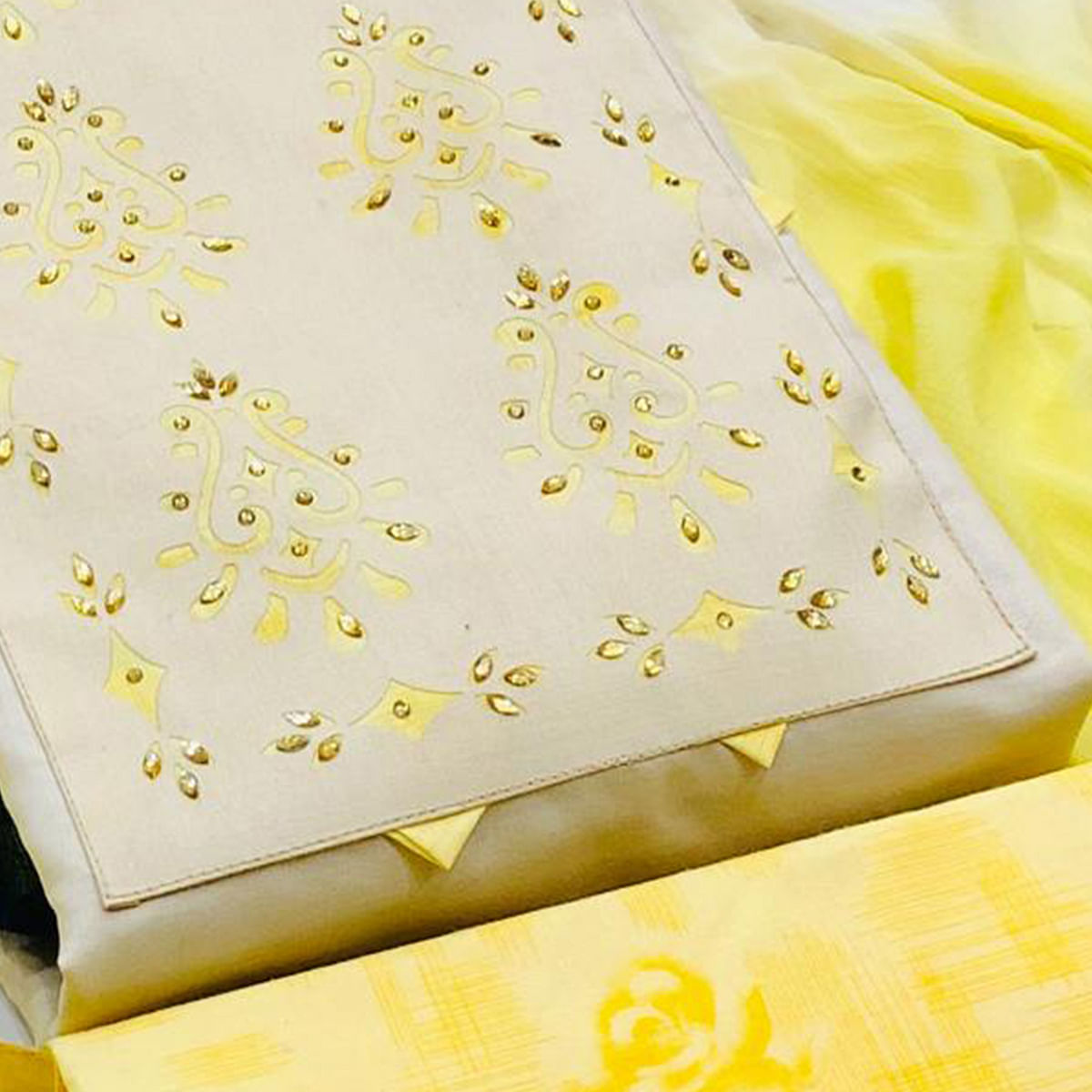Preferable Cream - Yellow Colored Casual Wear Printed Cotton Dress Material