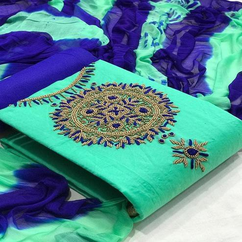 Pretty Light Rama Colored Partywear Embroidered Modal Dress Material