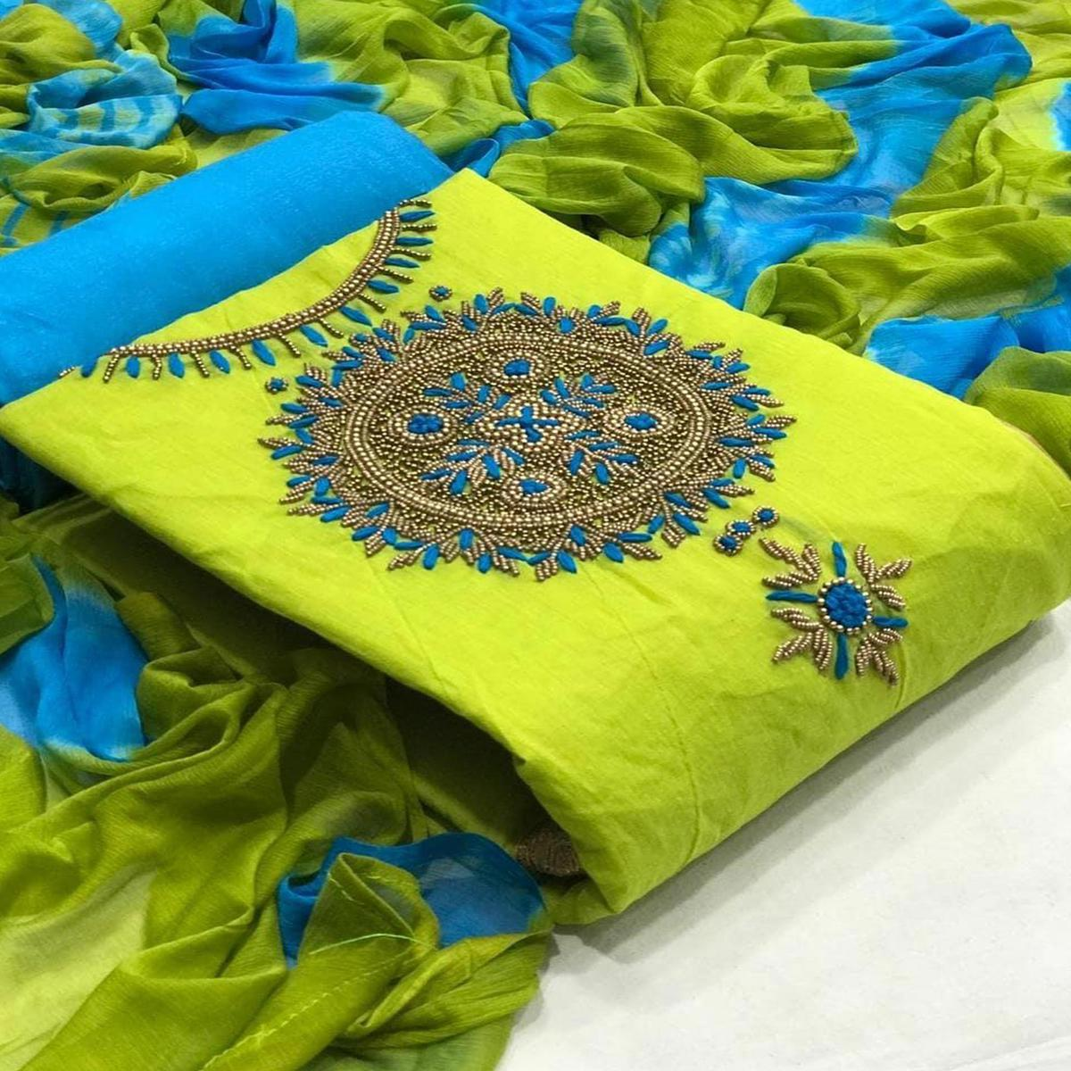 Alluring Green Colored Casual Wear Embroidered Modal Dress Material