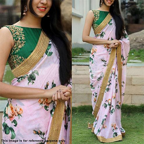 Lovely Pink Partywear Floral Printed & Embroidered Georgette Saree