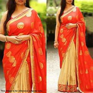 Ravishing Red-Gold Partywear Embroidered Half N Half Paper Silk And Lycra Saree