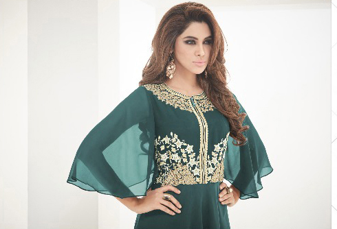 Dark Green Party Wear Designer Kurti