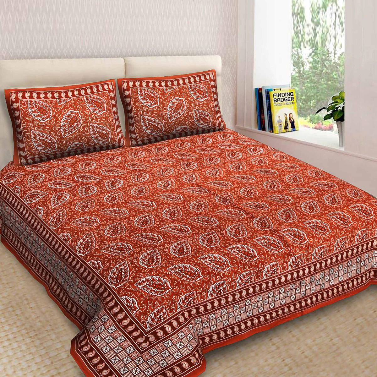 Energatic Orange Color King Size Cotton Bedsheet Comes With 2 Pillow Cover