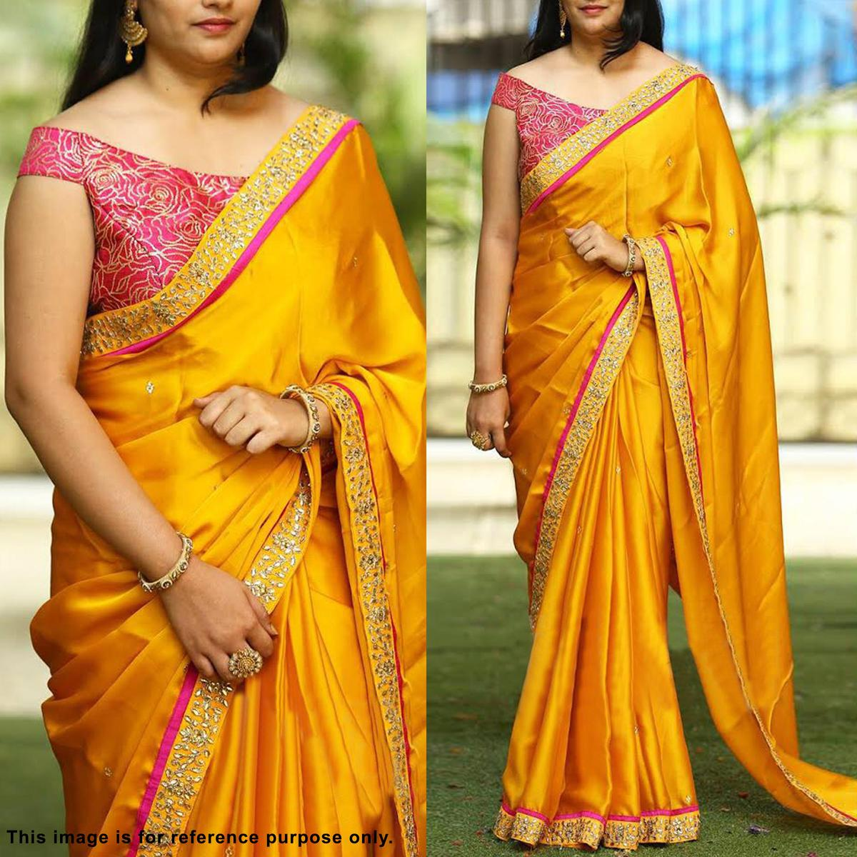 e596ab4e82 Buy Marvellous Yellow Partywear Embroidered Paper Silk Saree Online India,  Best Prices, Reviews - Peachmode