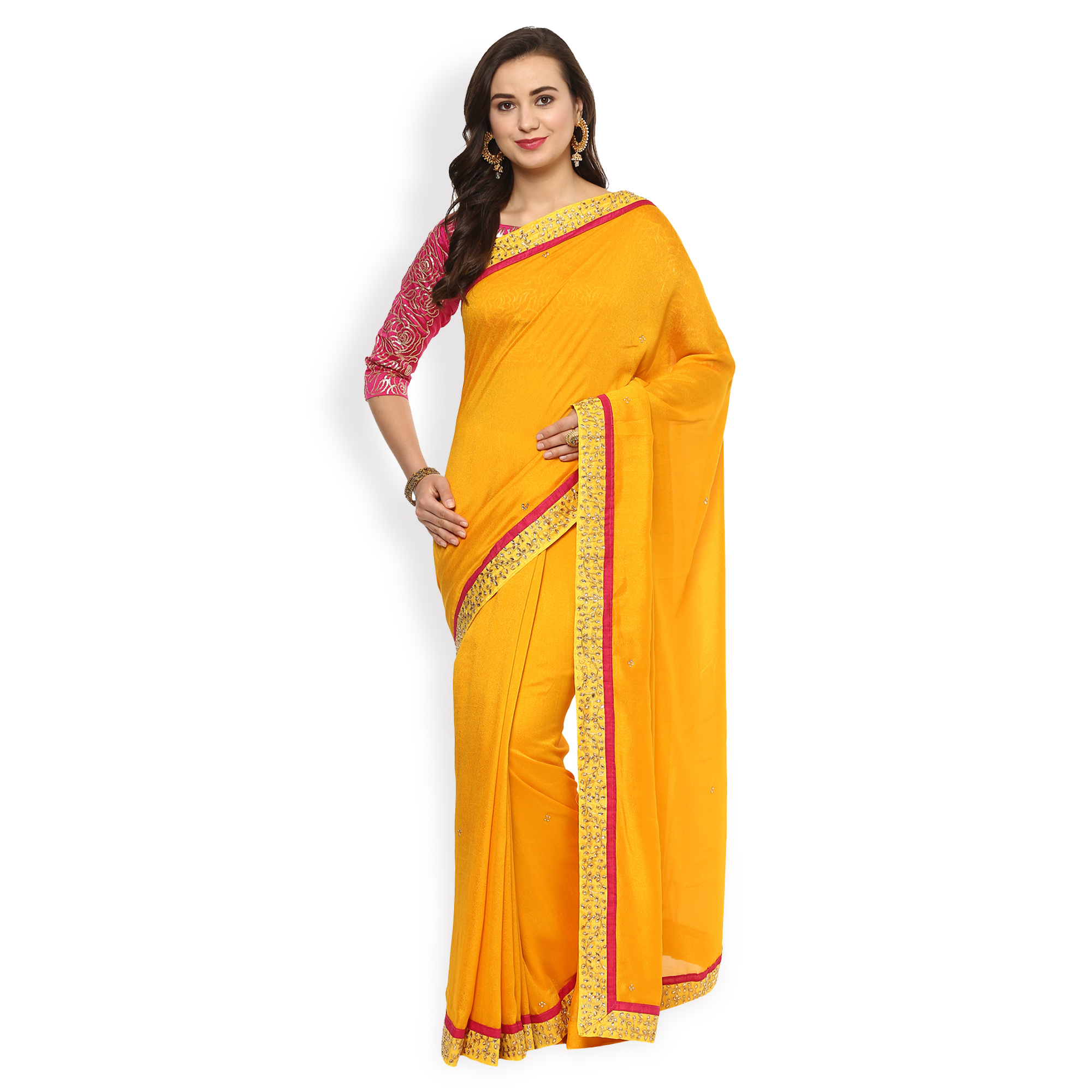 Marvellous Yellow Partywear Embroidered Paper Silk Saree