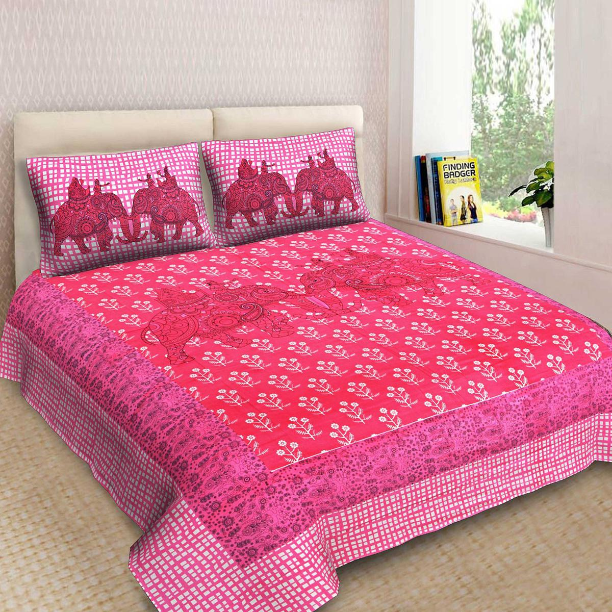 Pink Colored Printed Cotton King Size Bedsheet With 2 Pillow Cover