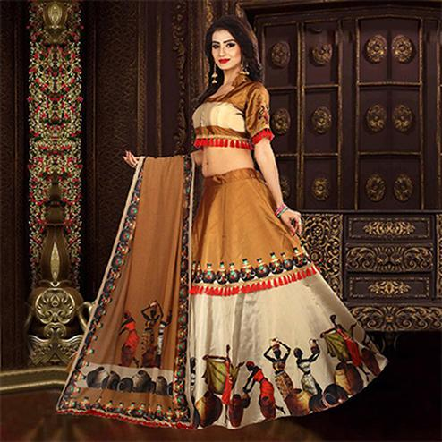 Elegant Beige Colored Designer Digital Printed Stitched Tapetta Silk Lehenga Choli