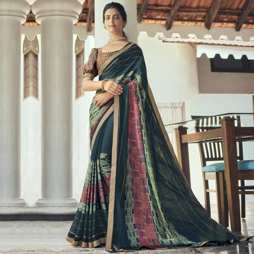 Triveni - Teal Color Chiffon Casual Wear Saree With Blouse Piece