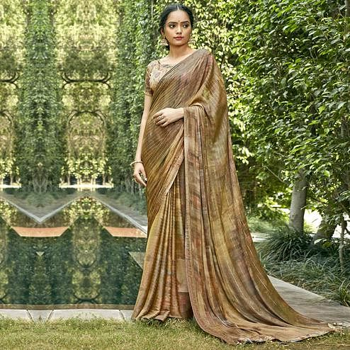 Triveni - Gold Color Chiffon Casual Wear Saree With Blouse Piece