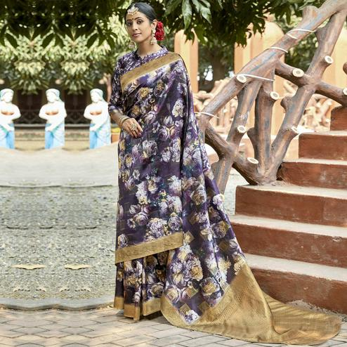 Triveni - Purple & White Color Cotton Party Wear Saree With Blouse Piece