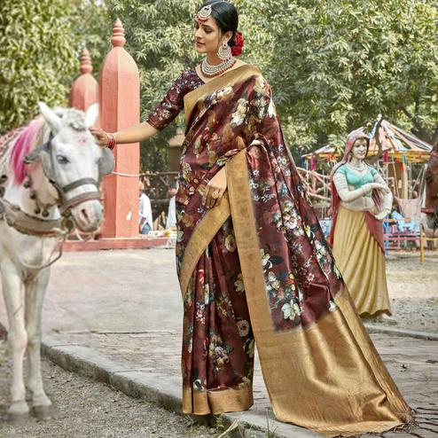 Triveni - Burgundy Color Cotton Party Wear Saree With Blouse Piece