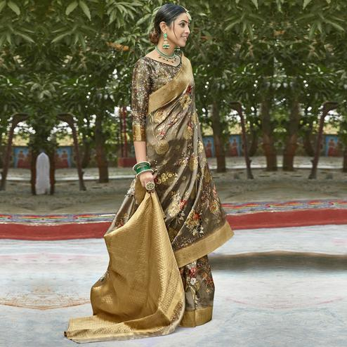 Triveni - Beige Color Cotton Party Wear Saree With Blouse Piece