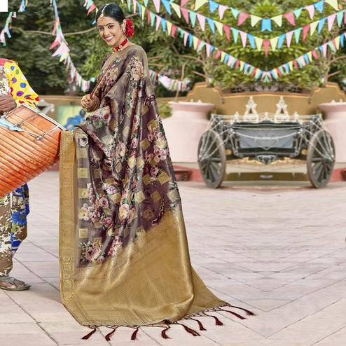 Triveni - Multi Color Cotton Party Wear Saree With Blouse Piece