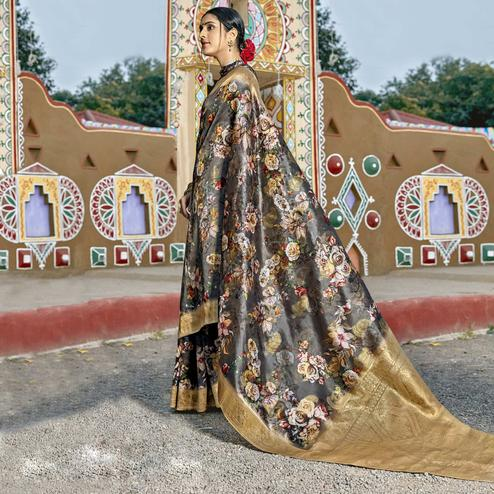 Triveni - Grey & Gold Color Cotton Party Wear Saree With Blouse Piece