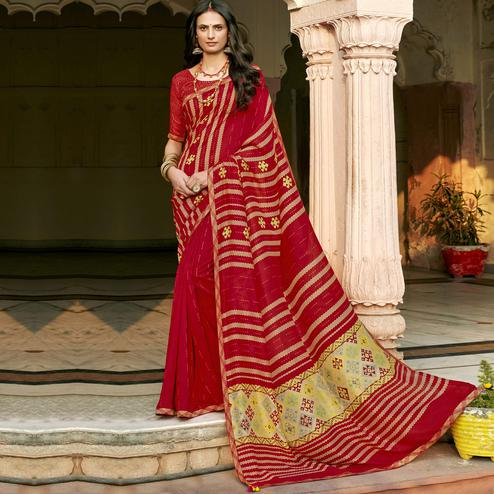 Triveni - Red Color Chanderi Silk Casual Wear Saree With Blouse Piece