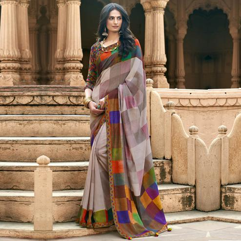 Triveni - Multi Color Chanderi Silk Casual Wear Saree With Blouse Piece