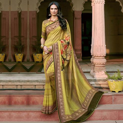 Triveni - Yellow Color Chanderi Silk Casual Wear Saree With Blouse Piece
