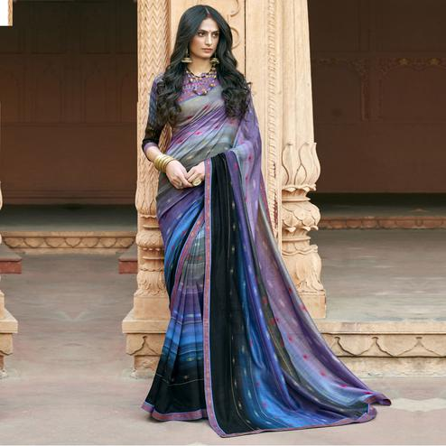 Triveni - Purple & Blue Color Chanderi Silk Casual Wear Saree With Blouse Piece