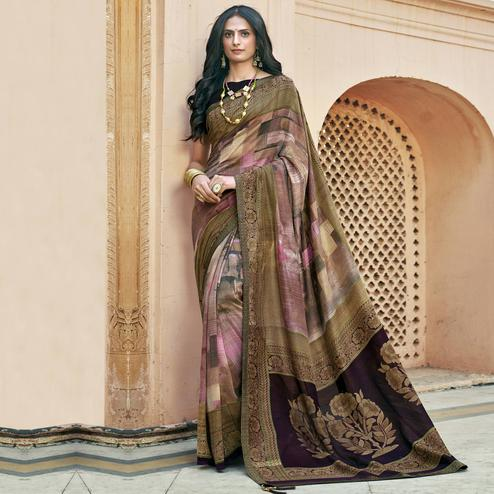 Triveni - Pink & Beige Color Chanderi Silk Casual Wear Saree With Blouse Piece