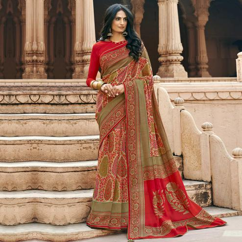 Triveni - Red & Beige Color Chanderi Silk Casual Wear Saree With Blouse Piece