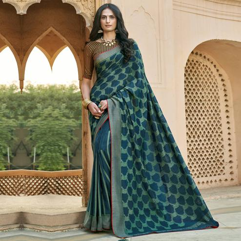 Triveni - Blue & Green Color Chanderi Silk Casual Wear Saree With Blouse Piece