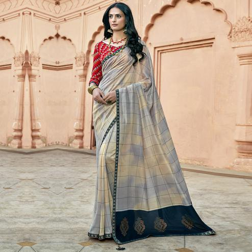 Triveni - Beige & Grey Color Chanderi Silk Casual Wear Saree With Blouse Piece