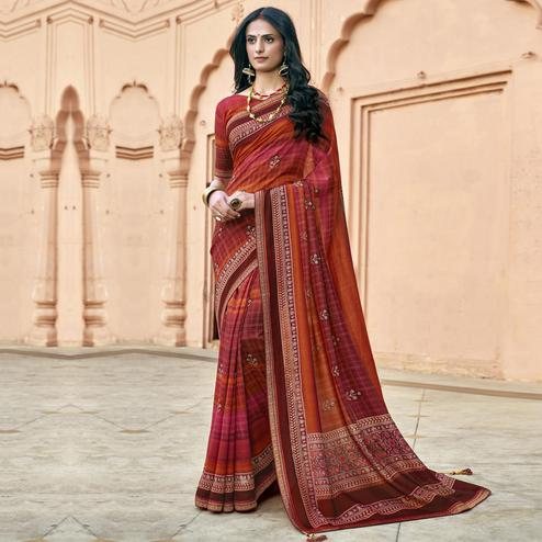 Triveni - Pink & Orange Color Chanderi Silk Casual Wear Saree With Blouse Piece
