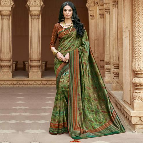 Triveni - Green Color Chanderi Silk Casual Wear Saree With Blouse Piece