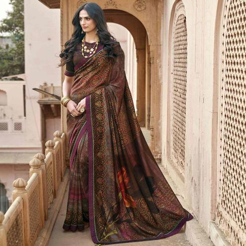 Triveni - Brown & Pink Color Chanderi Silk Casual Wear Saree With Blouse Piece