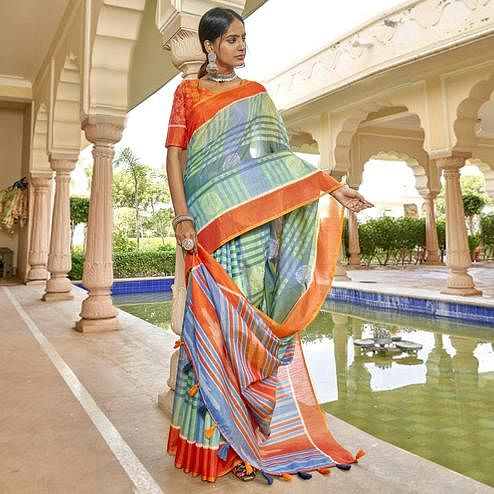 Triveni - Blue & Green Color Cotton Casual Wear Saree With Blouse Piece