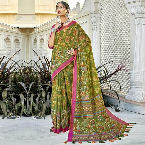 Triveni - Green Color Cotton Casual Wear Saree With Blouse Piece
