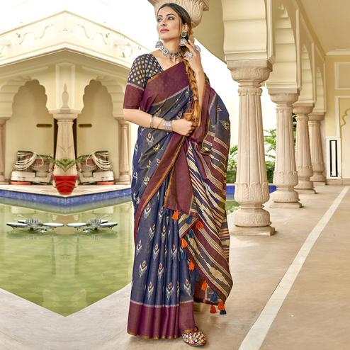 Triveni - Blue Color Cotton Casual Wear Saree With Blouse Piece