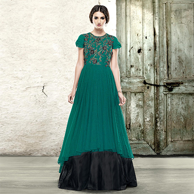Alluring Green-Black Colored Designer Embroidered Partywear Net Gown