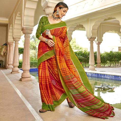 Triveni - Red & Yellow Color Cotton Casual Wear Saree With Blouse Piece