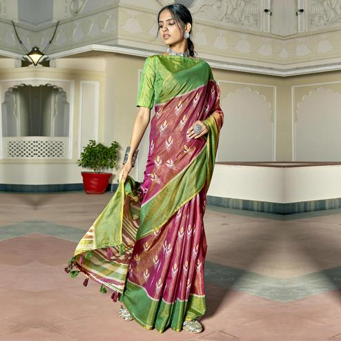 Triveni - Pink Color Cotton Casual Wear Saree With Blouse Piece