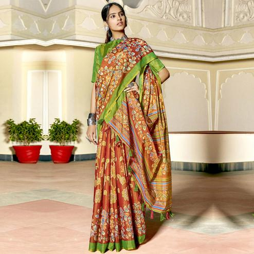 Triveni - Multi Color Cotton Casual Wear Saree With Blouse Piece