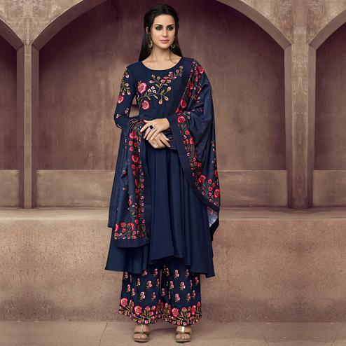 Adorable Navy Blue Coloured Embroidered Party Wear Floral Muslin Palazzo Suit