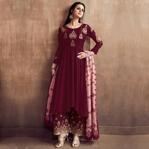 Mesmerising Brown Coloured Embroidered Party Wear Floral Muslin Palazzo Suit