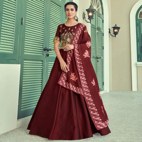 Prominent Maroon Coloured Embroidered Party Wear Floral Taffeta Gown