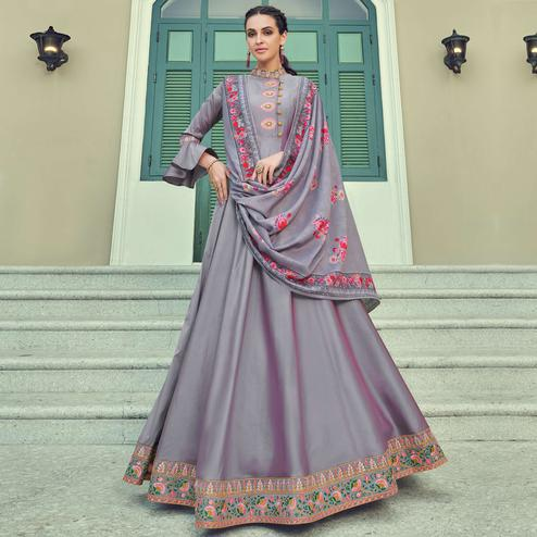 Charming Pink Coloured Embroidered Party Wear Taffeta Gown