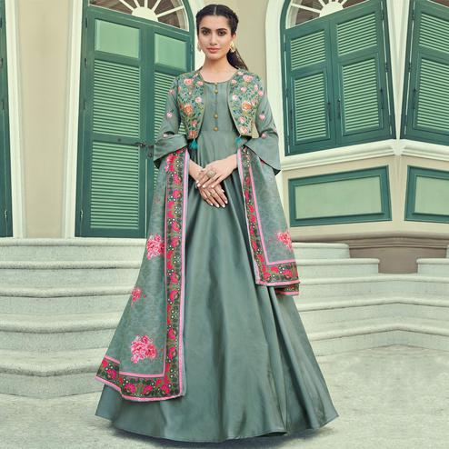 Desirable Green Coloured Embroidered Party Wear Floral Taffeta Gown