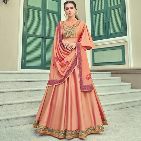 Captivating Orange Coloured Embroidered Party Wear Floral Taffeta Gown