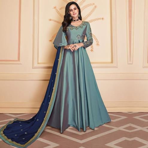 Graceful Blue Colored Embroidered Work Party Wear Heavy Soft Silk Gown