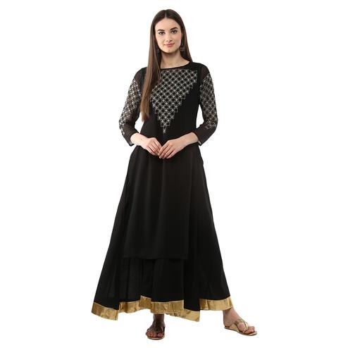 AHALYAA - Black Floor Length Double Layered Anarkali Kurti