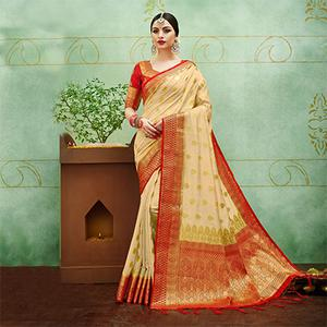 Beige-Red Colored Designer Festive Wear Banarasi Silk Saree