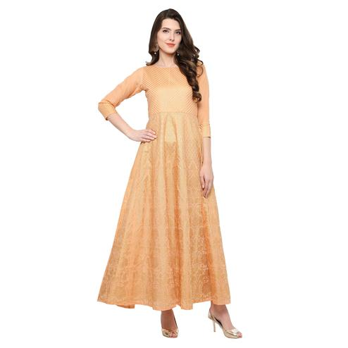 AHALYAA - Peach and Gold Chanderi Anarkali Kurti for Women
