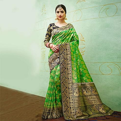 Green-Blue Colored Designer Festive Wear Banarasi Silk Saree