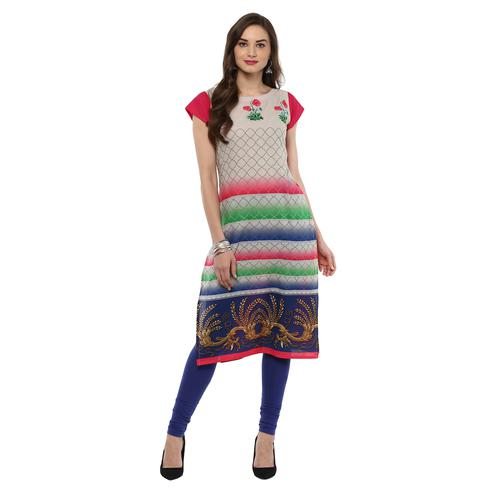 AHALYAA - Multi Colored Cap Sleeve And Boat Neck Cotton Kurti
