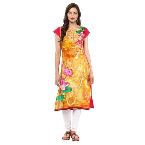 AHALYAA - Yellow Colored Retro Ajanta Ellora inspired Cotton Digital Kurti